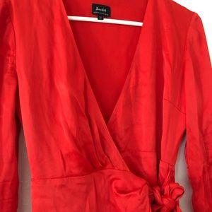 Red satin plunge neck wrap dress XS